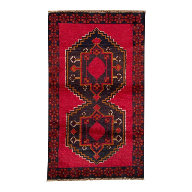 """Vintage Hand-Knotted Balouch Wool Rug, 2'8"""" X 4'7"""" For Sale"""