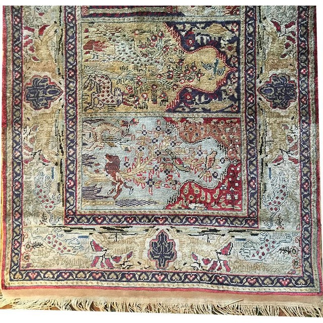 Ruby Red Early 20th Century Antique Silk Turkish Saph Runner Rug - 2′7″ × 8′ For Sale - Image 8 of 9