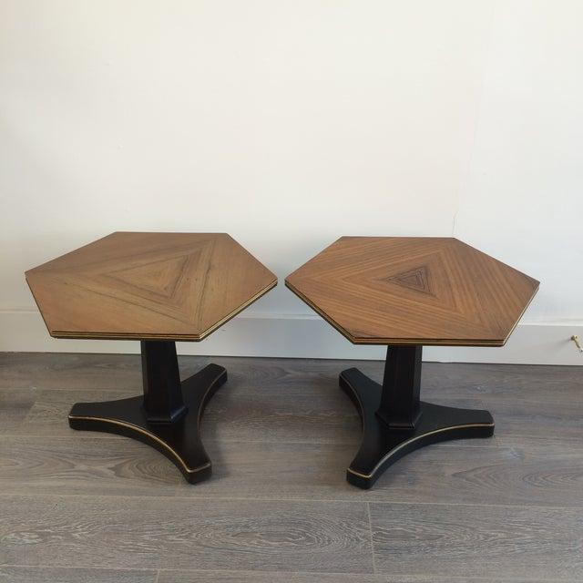 Henredon Hexagonal Walut Side Tables - A Pair - Image 2 of 11