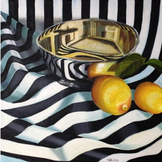 "Kathi Blinn ""Tipsy Stripes"" Black and White Contemporary Still-Life Painting"