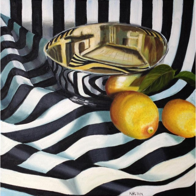 "Kathi Blinn ""Tipsy Stripes"" Black and White Contemporary Still-Life Painting For Sale"