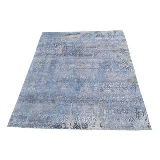 Modern Contemporary Handmade Blue and Gray Wool and Bamboo Silk 9'x12'