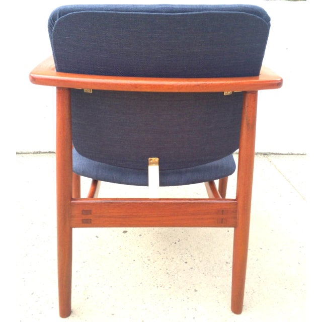 Danish Modern Børge Mogensen Lænestol Armchair in Blue For Sale In Washington DC - Image 6 of 10