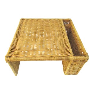 1980s Vintage Wicker Snack Tray For Sale