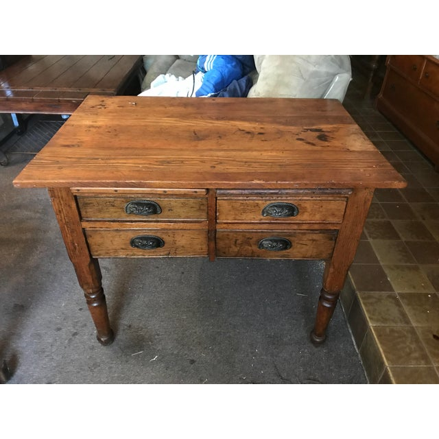 Brown Antique Oak Feed Table For Sale - Image 8 of 8