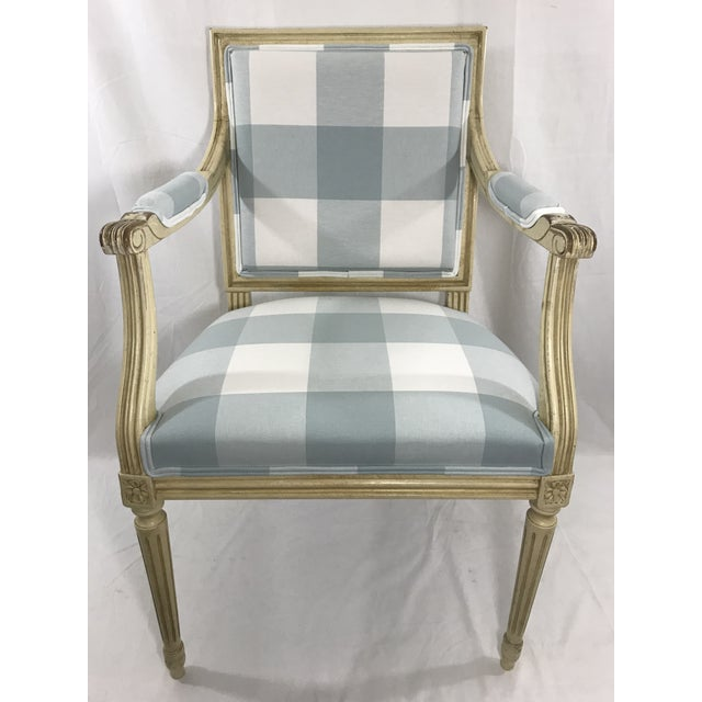 wonderful distressed paint and new upholstery in a slate blue check makes this charming side chair perfect for that needed...