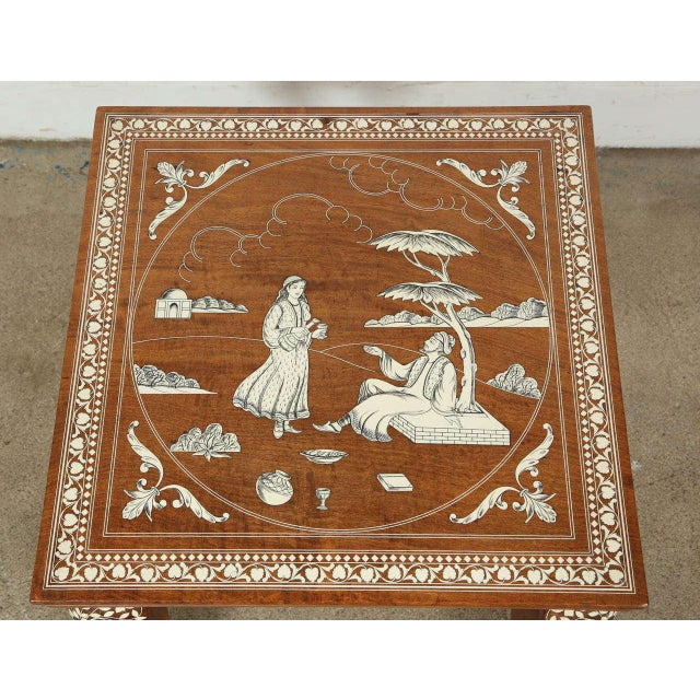Anglo-Indian Anglo Indian Inlaid Square Side Table For Sale - Image 3 of 10