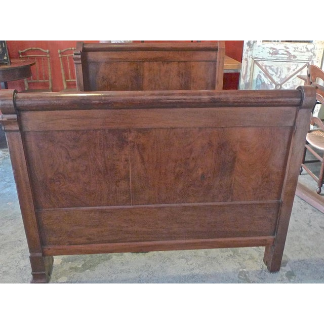 Rustic 19th Century Country Louis Philippe Burled Walnut Bedframe For Sale - Image 3 of 10