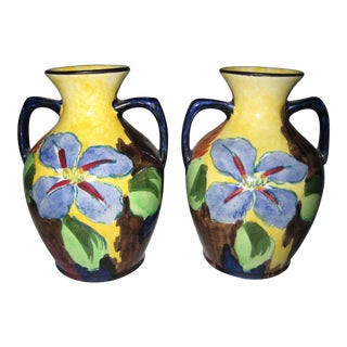 1940s Yellow Pink and Blue Floral H&k Tunstall Vases - a Pair For Sale