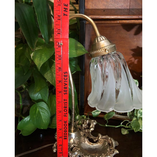Metal Vintage Victorian Brass Goose Neck Lamp Tulip Glass Shade Ink Holder Lamp Desk Side Table Light For Sale - Image 7 of 12