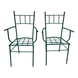Chinoiserie Metal Faux Bamboo Chairs - a Pair For Sale