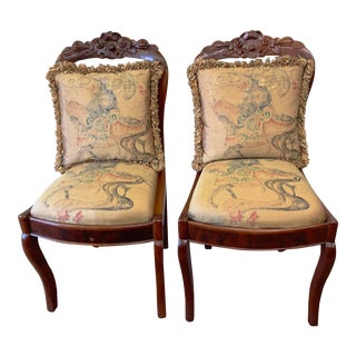 1990s Vintage French Louis XVI Style Side Chairs - a Pair For Sale
