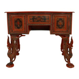 Southeast Asian Style Red Lacquer Decorated Desk For Sale