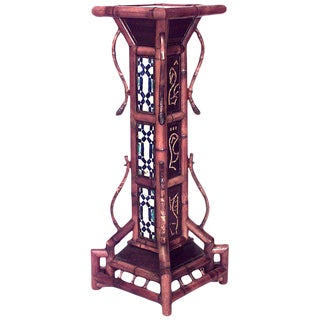 English Victorian Large Bamboo Square Pedestal For Sale