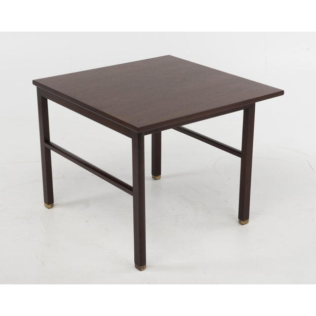 Mid-Century Modern Cantilevered Edward Wormley Dunbar Square Side End Table 1960s Walnut Brass Tag For Sale - Image 3 of 10