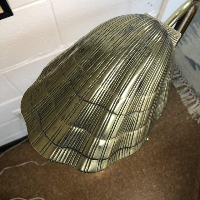 Hollywood Regency Brass Shell Reading Lamp For Sale - Image 3 of 9