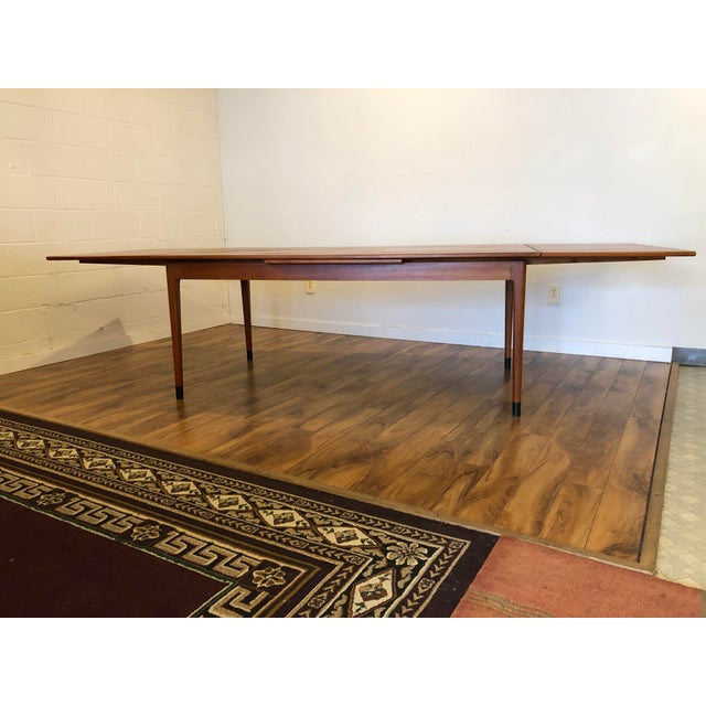 Mid-Century Modern Large Teak Draw Leaf Dining Table by Niels Otto Møller for Jl Møller, Made in Denmark For Sale - Image 3 of 13