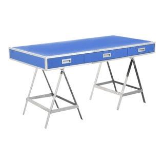 Mid-Century Modern Albrizzi Blue and Aluminum Trestle Writing Desk For Sale