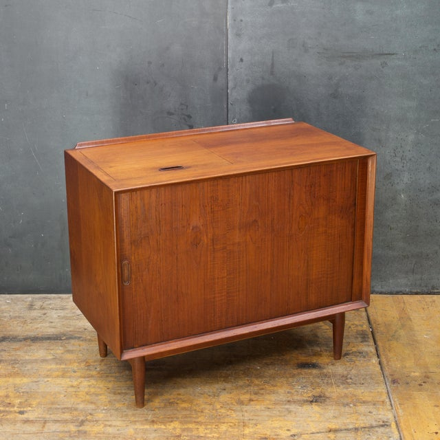 Mid-Century Modern Arne Vodder Hifi Cabinet Teak Tambour Petite Stereo Credenza Danish Midcentury For Sale - Image 3 of 10