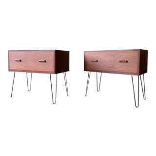 Mid Century Modern Danish Teak Cabinet on Hairpin Legs For Sale