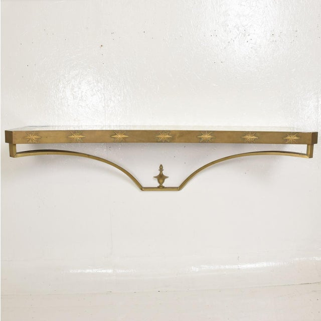 Arturo Pani Arturo Pani Mid-Century Mexican Modernist Star Brass Wall Console Table For Sale - Image 4 of 10