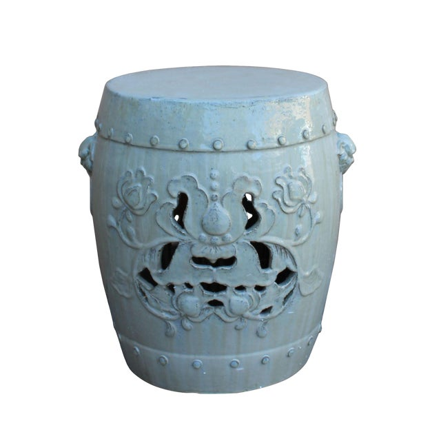 Chinese Off White Round Lotus Clay Ceramic Garden Stool Table For Sale