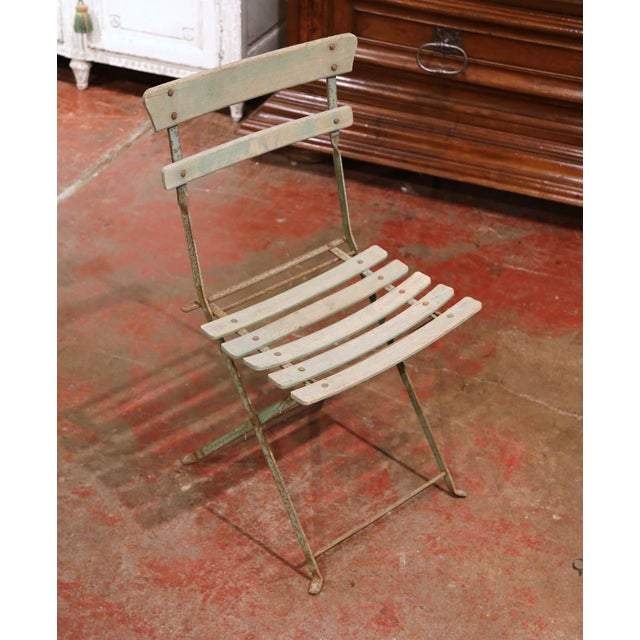 Verdigris Set of Four 1920s French Iron and Wood Painted Folding Garden Chairs For Sale - Image 8 of 13