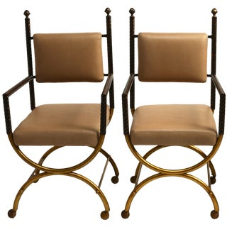 Regency Leather Brass & Copper Chair