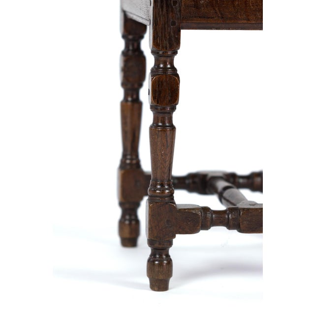 Brown English Oak Square Stool With Turned Legs and H-Stretcher, Circa 1890 For Sale - Image 8 of 11
