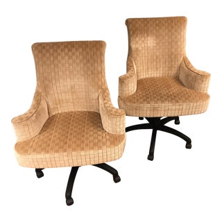 Modern Hancock and Moore Upholstered Desk Chair in a Lee Jofa Bishopscourt Pattern - Sienna Color For Sale