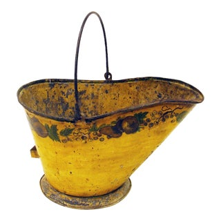 Antique English Toleware Coal Bucket/Planter With Handle For Sale