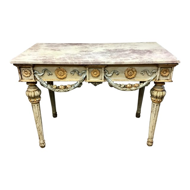 19th Century Italian Marble Top Console Table For Sale