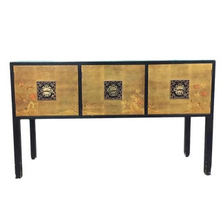James Mont Style Asian Inspired Console Cabinet with Hand-Painted Doors For Sale