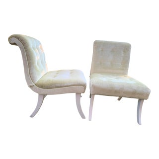 Vintage Mid Century Velvet Slipper Chairs- A Pair For Sale