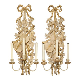 Pair of Carved Louis XVI Style Musical Trophy Sconces From France For Sale