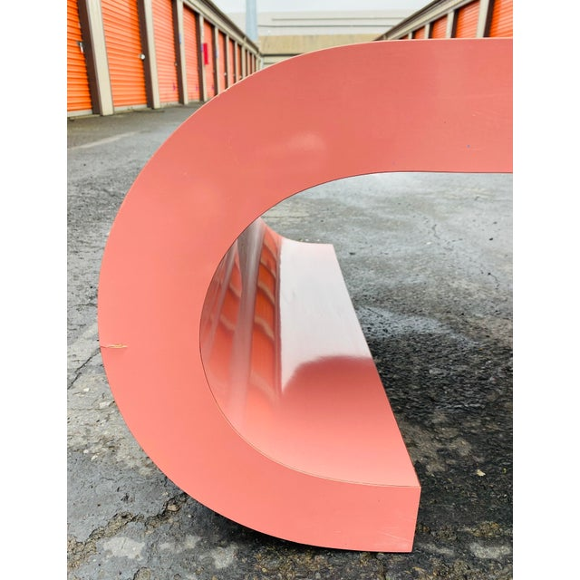 1980s 1980s Post Modern Pink Laminate Waterfall Coffee Table For Sale - Image 5 of 7