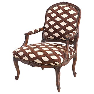 Louis XV Fauteuil Bergere Chair With Graphic Upholstery For Sale
