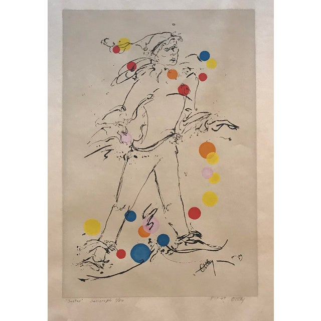 "1969 Mid-Century Modern ""Jester"" Serigraph by Ottley Schonberger For Sale - Image 6 of 6"