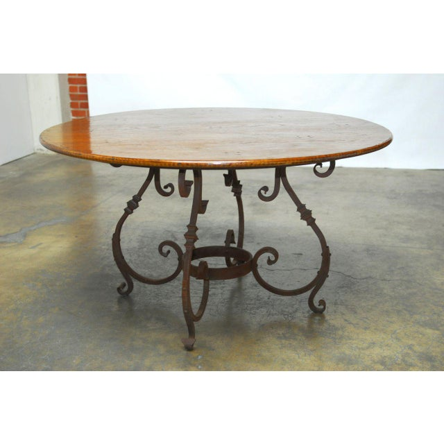 Italian Italian Oak & Scrolled Iron Round Dining Table For Sale - Image 3 of 9