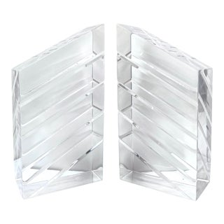 1970's Modern Sculptural Lucite Bookends - a Pair For Sale
