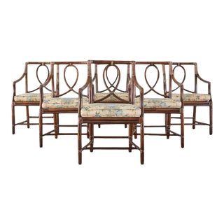Set of 6 McGuire Organic Modern Rattan Dining Armchairs For Sale