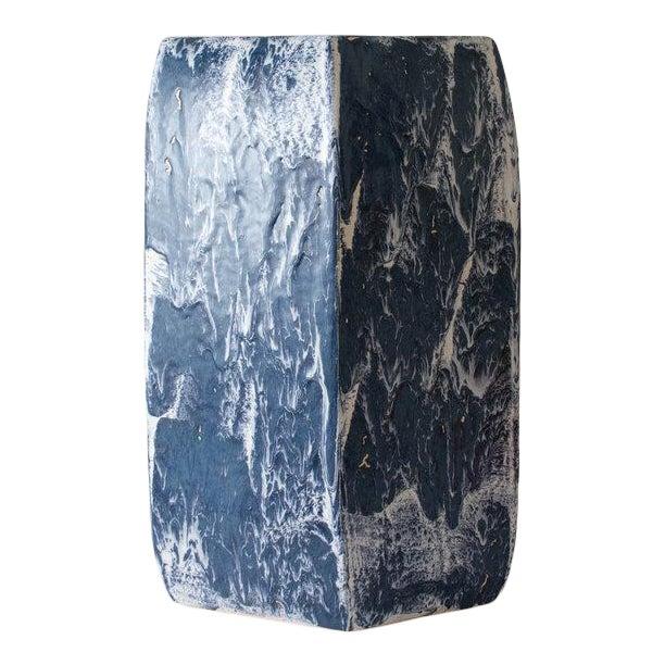 Paul Schneider Ceramic Hexagonal Stool in Drip Brushed Navy Glaze For Sale