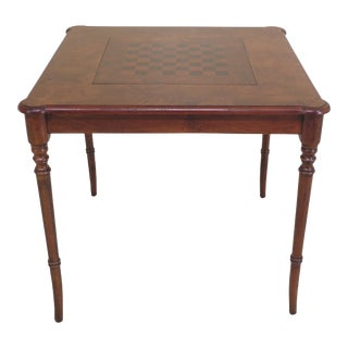 English Style Burl Walnut Square Games Table For Sale
