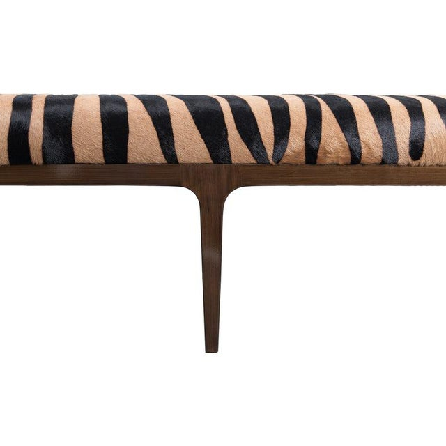 Contemporary Walnut Bench With Zebra Stencil Cowhide Upholstered Seat For Sale - Image 3 of 7