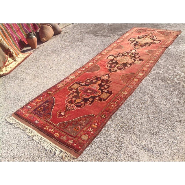 """1940s Vintage Hand Knotted Anatolian Rug - 4'2"""" x 13'5"""" - Image 3 of 8"""