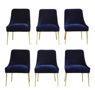 Blue Velvet and Brass Dining Chairs - Set of 6 For Sale