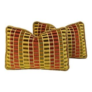 """Designer Kravet Silk Velvet & Pierre Frey Mohair Feather/Down Pillows 21"""" X 15"""" - Pair"""