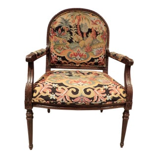 Vintage Colorful Tapestry Upholstered Bergere Chair For Sale