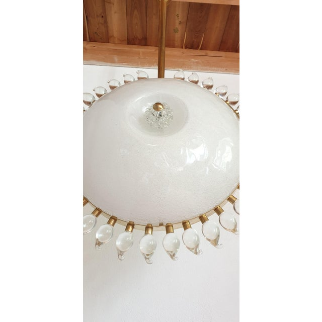 Large Mid-Century Modern Sunflower Murano Glass & Brass Chandelier, Cenedese For Sale - Image 11 of 12