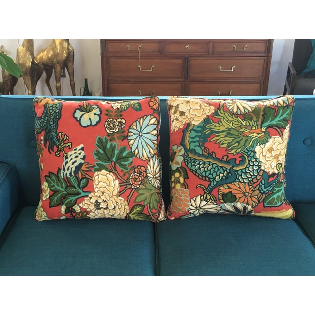 Schumacher Chiang Mai Dragon Pillows - A Pair - Image 2 of 8